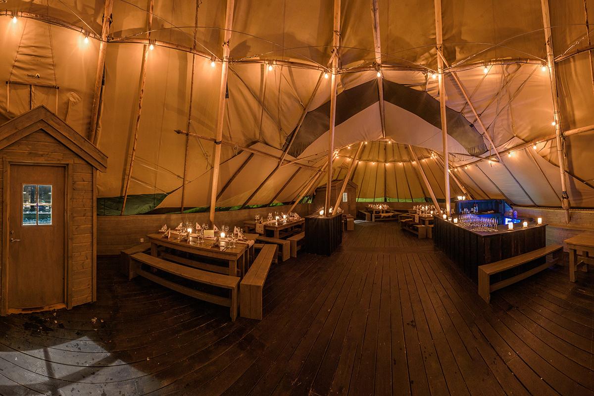 Event camp i stor fin lavvo på Holmenkollen